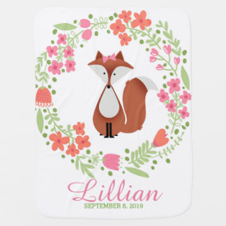 Cutie Fox Personalized Receiving Blanket