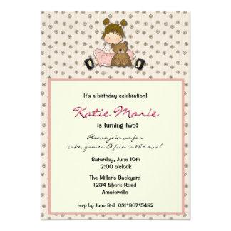 Cutie Girl With Bear Invitaiton Card