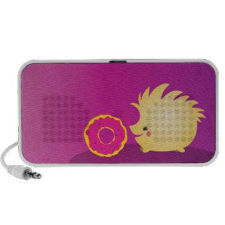 Cutie hedgehog with sweet doughnut Speakers