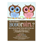 "Cutie Owls Gender Reveal Party Invitation 5"" X 7"" Invitation Card"