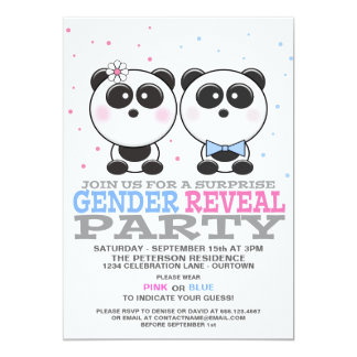 Cutie Pandas Gender Reveal Party Invitation Invitations