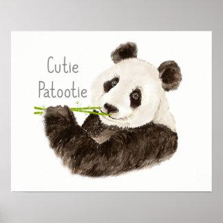 Cutie Patootie Watercolor Panda Bear Fun Poster