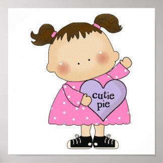 cutie pie candy heart girl poster