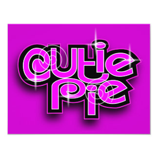 CUTIE PIE FUCHSIA 4.25X5.5 PAPER INVITATION CARD