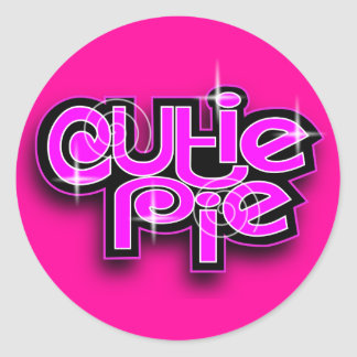 CUTIE PIE FUCHSIA CLASSIC ROUND STICKER