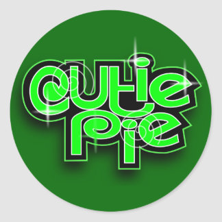 CUTIE PIE LIME ROUND STICKER