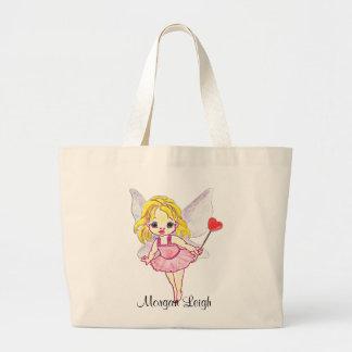 Cutie Pie Pink Fairy Large Tote Bag