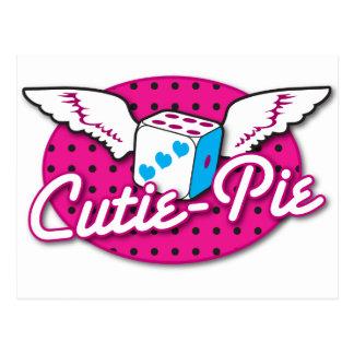 Cutie-Pie rockabilly cute dice with wings Postcard