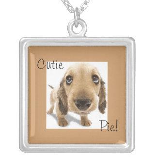 Cutie Pie. Square Pendant Necklace