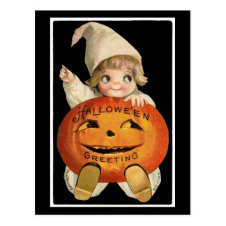Cutie-Pie With Pumpkin – Halloween Postcard