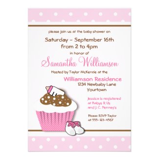 Cutie Pink Cupcakes Baby Shower Invitations