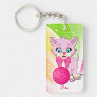 Cutie Pink Kitten Cartoon Keychain