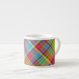 Cutie Rainbow Plaid Espresso Mug 6 Oz Ceramic Espresso Cup