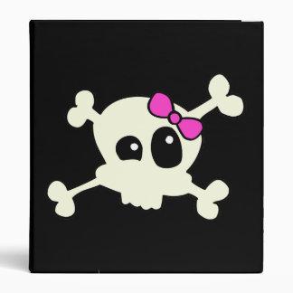 Cutie skull girl 3 ring binder