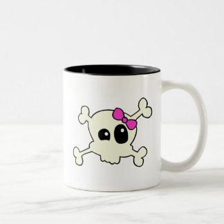 Cutie skull girl Two-Tone coffee mug