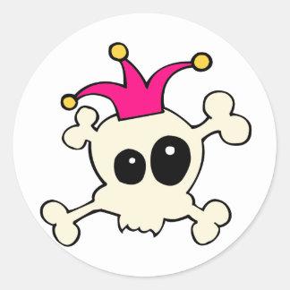 Cutie Skulls Jester Classic Round Sticker