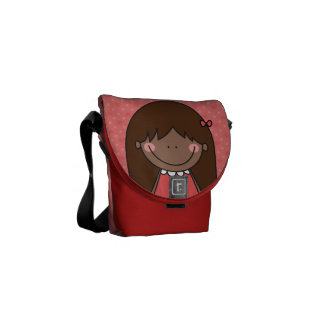 Cutie with Long Straight Hair (RED) Courier Bag