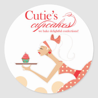 Cutie's Cupcakes - Confections Desserts Pastries Round Stickers