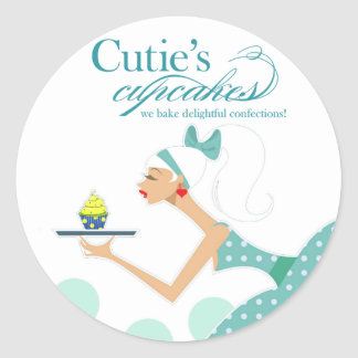 Cutie's Cupcakes - Confections Desserts Pastries Round Sticker