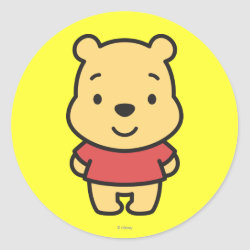 Round Sticker with Super Cute Winnie the Pooh design