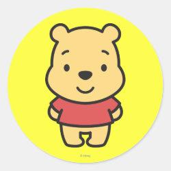 Round Sticker with Super Cute Winnie the Pooh design