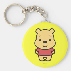 Basic Button Keychain with Super Cute Winnie the Pooh design