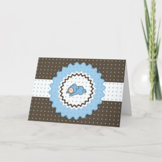 Cutietoots Baby Shower Invitation (blue and brown) card