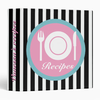 Cutlery and plate on black white stripes recipe binder