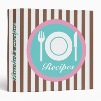 Cutlery and plate on brown white stripes recipe 3 ring binder