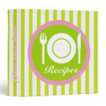 Cutlery and plate on green white stripes recipe binder