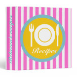 Cutlery and plate on hot pink white stripes recipe 3 ring binder