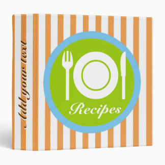 Cutlery and plate on orange white stripes recipe binder