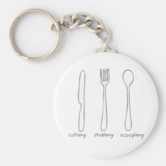 Cutlery Basic Round Button Keychain