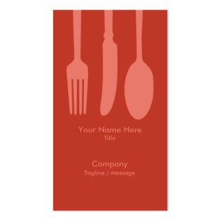 Cutlery Cafe Business Card (Dk Retro Red)