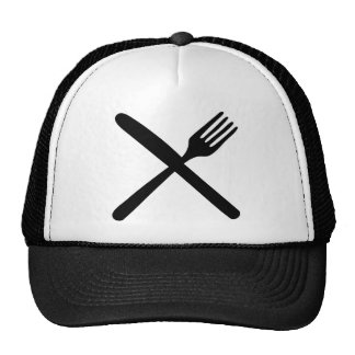 cutlery fork and knife crossed trucker hats