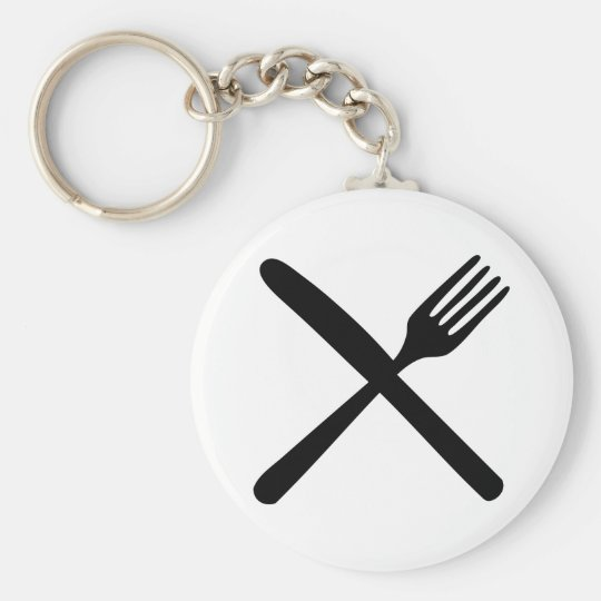 cutlery fork and knife crossed keychain