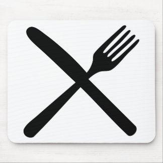 cutlery fork and knife crossed mouse pad