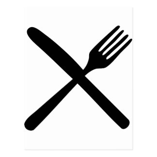 cutlery fork and knife crossed post cards