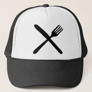 cutlery fork and knife crossed trucker hat