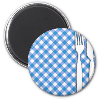 Cutlery on Table Cloth Refrigerator Magnets
