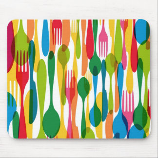 Cutlery Pattern Illustration Mouse Pad