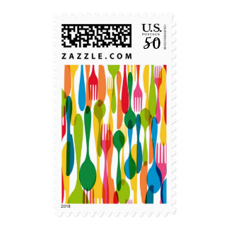 Cutlery Pattern Illustration Postage