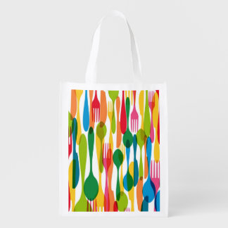 Cutlery Pattern Illustration Reusable Grocery Bag