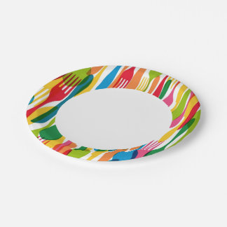 Cutlery Pattern Illustration 7 Inch Paper Plate