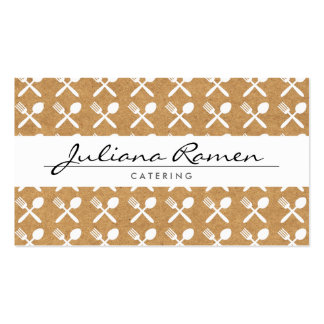 CUTLERY PATTERN on KRAFT PAPER for CATERING CHEFS Business Card