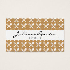 Cutlery Pattern On Kraft Paper For Catering, Chefs Business Card at Zazzle