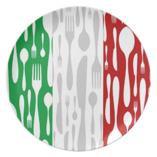 Cutlery pattern on the Italian flag Party Plate