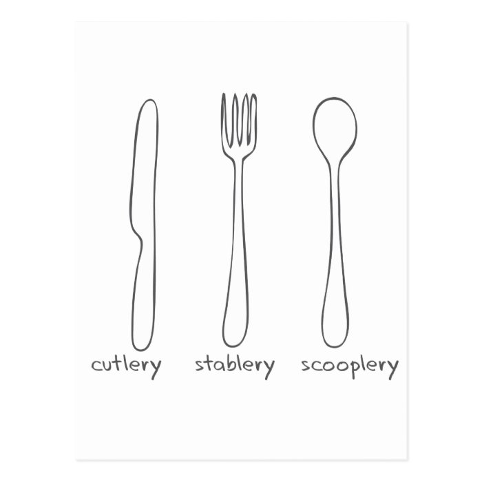 Cutlery Postcard
