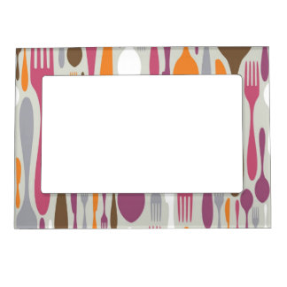Cutlery Silhouette Icons Pattern 2 Magnetic Frame