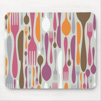 Cutlery Silhouette Icons Pattern 2 Mouse Pad